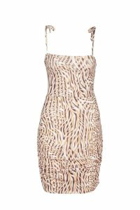 Womens Mixed Animal Print Lace Up Back Mini Dress - brown - 14, Brown