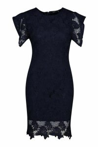 Womens Crochet Lace Bodycon Mini Dress - navy - 8, Navy