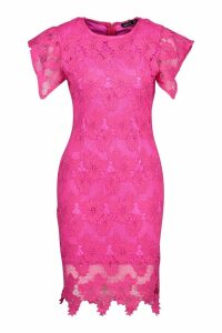 Womens Crochet Lace Bodycon Mini Dress - Pink - 8, Pink