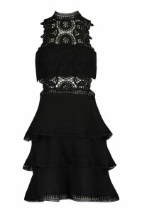 Womens Crochet Trim Ruffle Tiered Skater Dress - black - 16, Black
