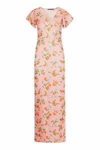 Womens Fruit Print Angel Sleeve Maxi Dress - Pink - 8, Pink
