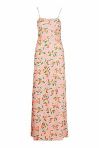 Womens Fruit Printed Square Neck Maxi Dress - Pink - 8, Pink