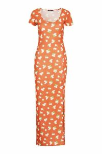 Womens Large Scale Floral Cap Sleeve Maxi Dress - orange - 14, Orange
