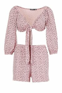 Womens Leopard Print Tie Front Top & Short Co-Ord - Pink - 14, Pink