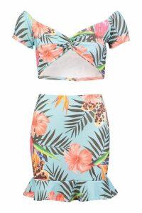 Womens Tropical Print Twist Top & Ruffle Skirt Co-Ord - blue - 14, Blue