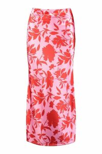 Womens Vibrant Floral Satin Midaxi Skirt - Pink - 16, Pink