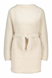 Womens Borg Grown On Neck Belted Sweat Dress - white - 14, White
