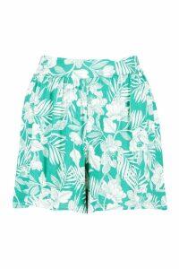Womens Floral Print Flippy Shorts - green - 10, Green