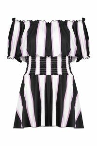 Womens Striped Dress With Shirring - purple - 12, Purple