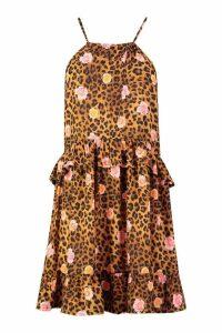 Womens Floral Leopard Halter Neck Smock Dress - multi - 14, Multi