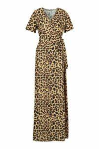 Womens Leopard Print Wrap Maxi Dress - brown - 12, Brown