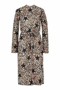 Womens Leopard Star Print High Neck Belted Midi Dress - brown - 8, Brown