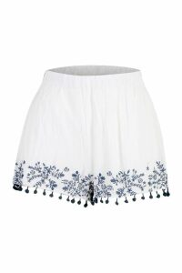 Womens Embroidered Pom Pom Shorts - white - M/L, White