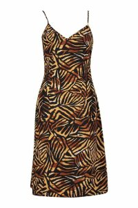 Womens Jungle Print Cami Wrap Midi Dress - brown - 10, Brown