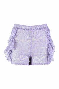 Womens Lace Shorts - purple - 14, Purple