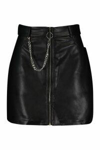 Womens Chain Detail Leather Look Mini Skirt - black - M, Black