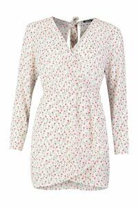 Womens Ditsy Floral Print Wrap Skater Dress - white - 14, White