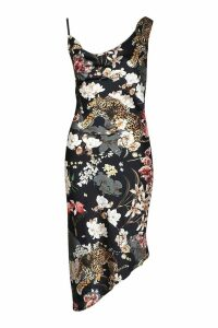 Womens Cheetah Print Cowl Asymmetric Midi Dress - black - 16, Black