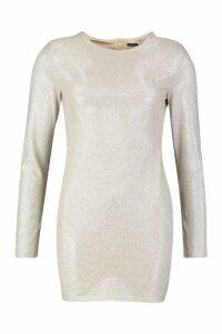 Womens High Shine Diamante Effect Bodycon Mini Dress - beige - M, Beige