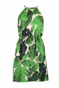 Womens Palm Print Waisted Skater Dress - Pink - 8, Pink