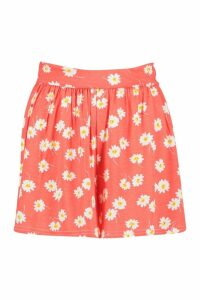 Womens Daisy Print Flippy Shorts - orange - 14, Orange