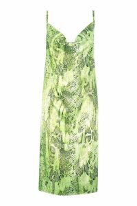 Womens Satin Snake Cowl Neck Midi Slip Dress - green - 14, Green
