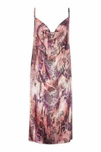 Womens Satin Snake Cowl Neck Midi Slip Dress - Pink - 14, Pink