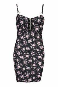 Womens Hook & Eye Strappy Bodycon Dress - black - 14, Black