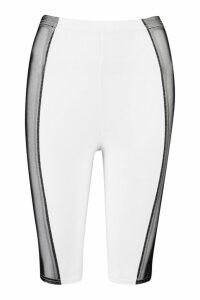 Womens Mesh Panel Cycling Shorts - white - M/L, White
