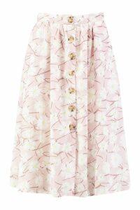 Womens Button Through Daisy Woven Midi Skirt - Pink - 14, Pink