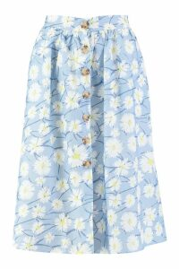 Womens Button Through Daisy Woven Midi Skirt - blue - 8, Blue