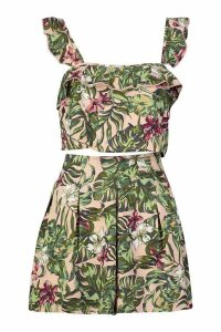 Womens Tropical Print Frill Bralet & Flippy Short Co-Ord - Pink - 14, Pink