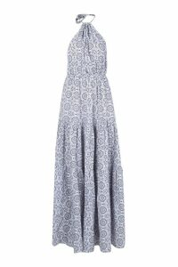Womens Tie Dye Backless Floor Sweeping Maxi Dress - blue - 14, Blue