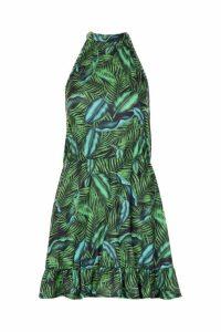 Womens All Sizes Halterneck Tie Neck Palm Sundress - green - 24, Green