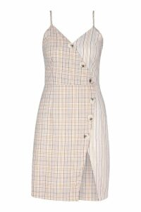 Womens Woven Mixed Check Horn Button Dress - beige - 14, Beige