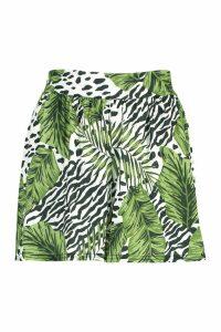 Womens Leopard Palm Flippy Shorts - white - 16, White
