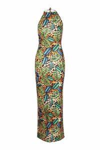 Womens All Sizes Jungle Print Halterneck Maxi Dress - beige - 12, Beige
