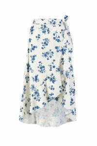 Womens Floral Wrap Tie Midi Skirt - white - 8, White