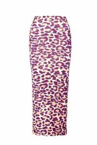 Womens Leopard Print Midaxi Skirt - Beige - 14, Beige