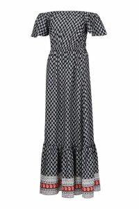 Womens Off The Shoulder Boarder Print Maxi Dress - black - 10, Black