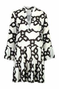 Womens Woven Chain Print Smock Dress - white - 14, White
