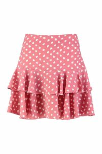 Womens Abstract Polka Dot Ruffle Hem Mini Skirt - Pink - 10, Pink