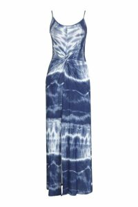 Womens Tie Dye Jersey Knot Split Front Maxi Dress - navy - 8, Navy