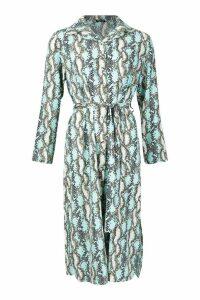 Womens Snake Print Button Through Shirt Midi Dress - blue - 10, Blue