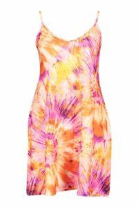 Womens Tie Dye Strappy Swing Dress - orange - 8, Orange
