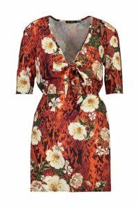 Womens Woven Floral Tie Shift Dress - black - 16, Black