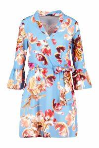Womens Floral Ruffle Sleeve Tie Waist Skater Dress - blue - 10, Blue
