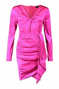 Womens Satin Twist Front Ruched Side Dress - pink - S, Pink