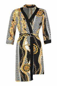 Womens Satin Chain Wrap Mini Dress - black - S, Black