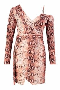 Womens Snake Printed Asymmetric Belted Blazer Dress - brown - M, Brown